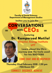 Flyer for Conversation with CEOs - Dr Rampersad Motilal