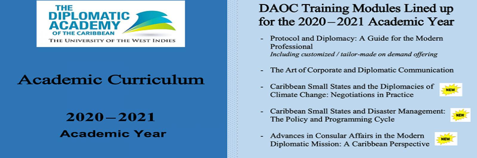 DAOC Academic Curriculum: 2020 – 2021 Academic Year