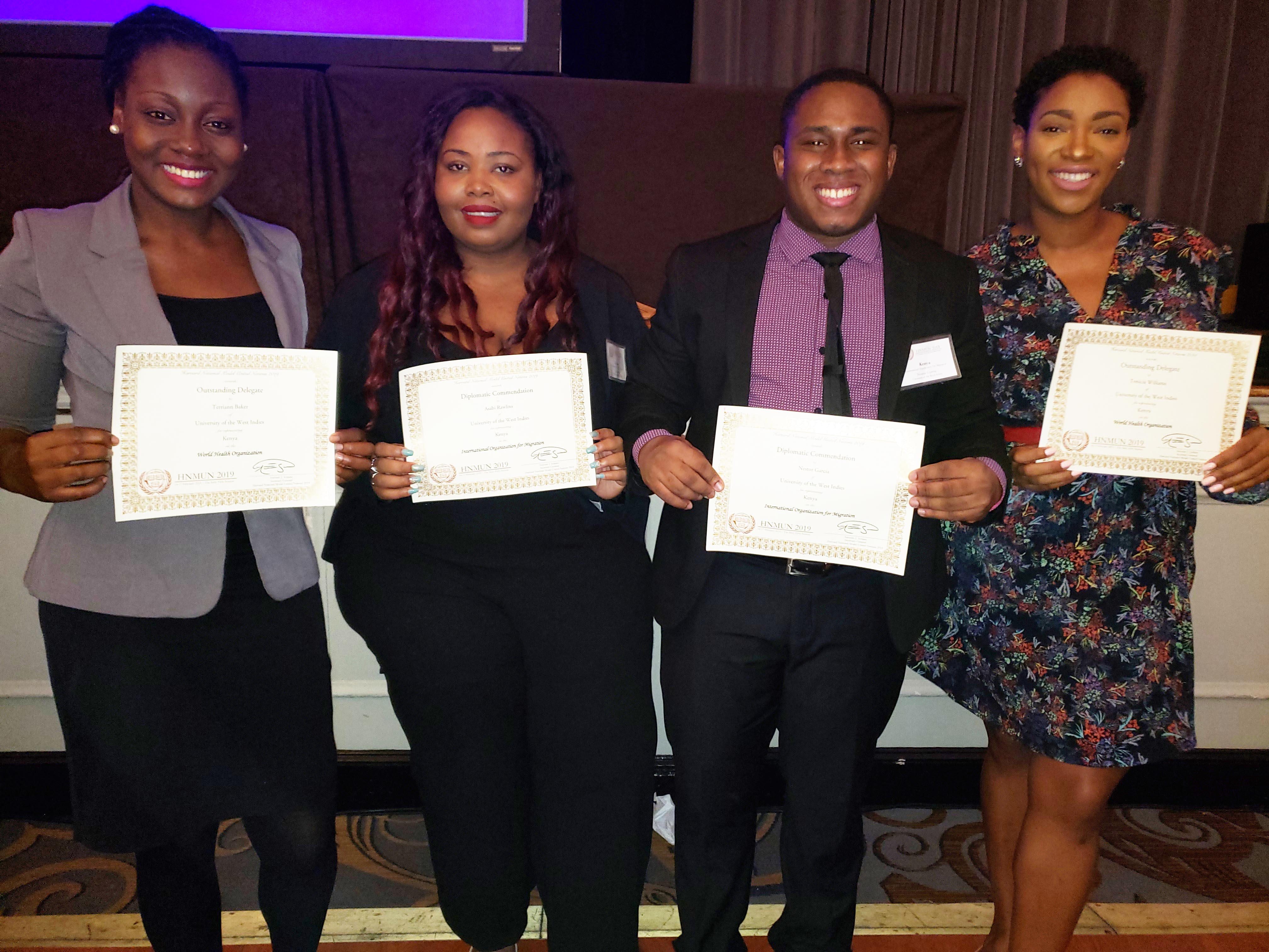 UWI Students take on the world and win at Harvard National Model UN