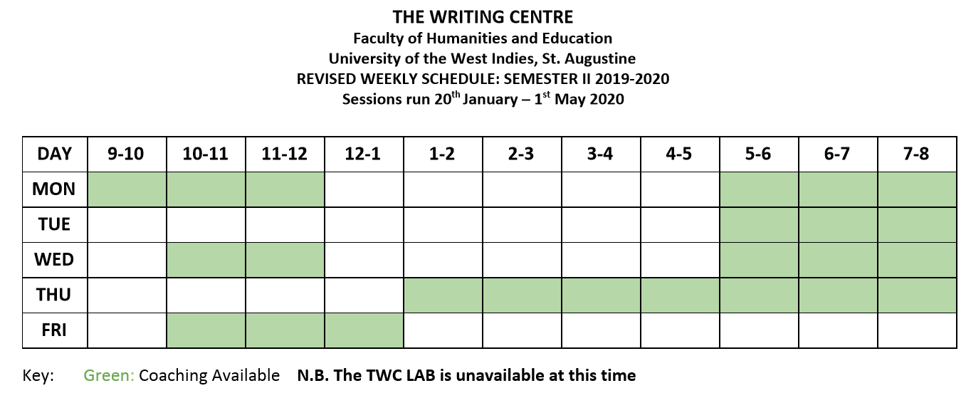 TWC Revised Schedule for Semester II 2020